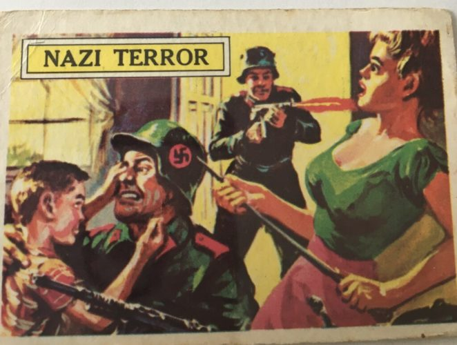 Bubblegum card showing Nazi soldiers attacking woman and child